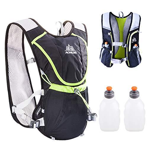 TRIWONDER Chaleco de Hidratación Ligero 8L Superior Mochila para Trail Running Ciclismo Maratón al Aire Libre Hombre Mujer (Negro - con 2 Botellas de Agua)