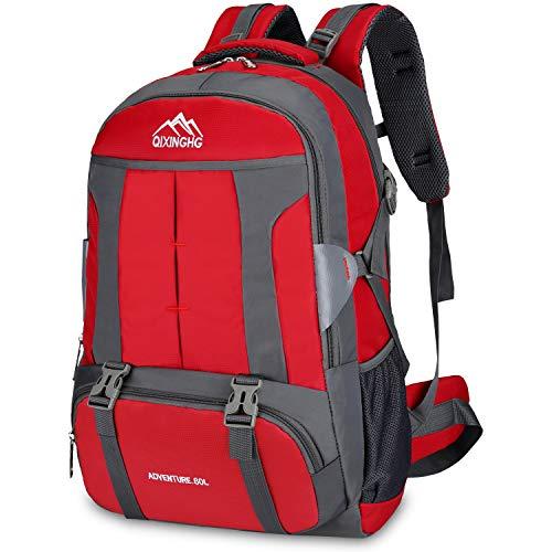 Bioasis Mochila de Senderismo, 60L Mochila de Escalada para Camping Deportes Montañismo Trekking Camping al Aire Libre (Rojo)