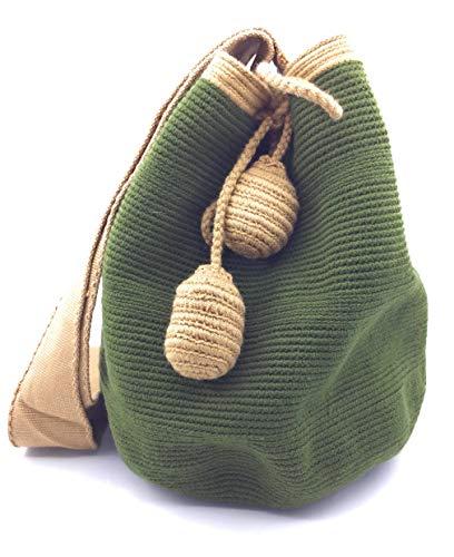 COLOMBIAN STYLE Bolsos colombianos artesanales lisos con ribete, mochilas Wayuu, tanto para mujer como para hombre.
