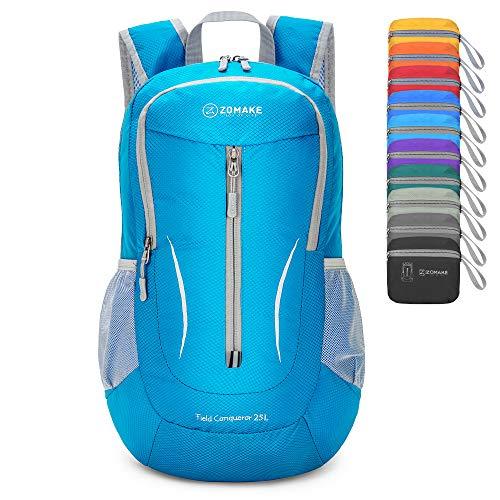 ZOMAKE Mochila Plegable Ligera 25L, Mochilas Pequeñas Compacta para Hombre, Mujer, Viajar, Senderismo, Al Aire Libre(Azul Claro)