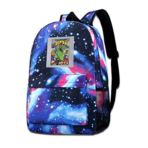 Warm-Breeze Galaxy Impreso Hombros Bolsa Reptar King of Mnosters Rugrats Moda Casual Star Sky Mochila para niños y niñas