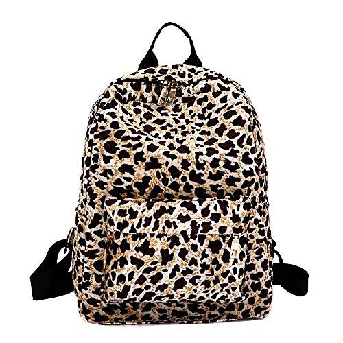 Memefood Mujer Mochila De Moda Backpack De Estampado De Leopardo De Viaje De Terciopelo Con Asa Arriba Bolsa Antirrobo De Hombro Con Correa Ajustable Para Comprar Senderismo Deportes (Caqui)