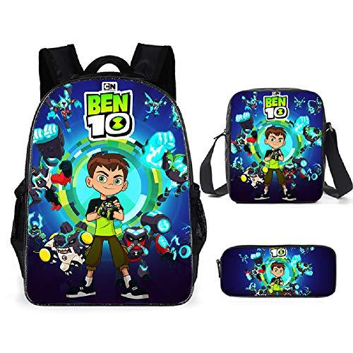 Conjunto de mochila para niños 3 en 1 Ben 10 impreso Mochilas escolares + Bolso de hombro + Estuche Mochilas para Resistente al agua Poliéster Mochila para la escuela y la excursión,Teenager hacker a