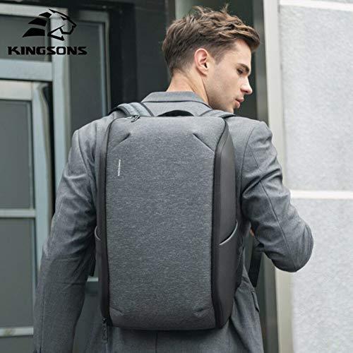 Kingsons - Mochilas para portátil de 15,6 pulgadas, con carga USB y resistente al agua, color gris