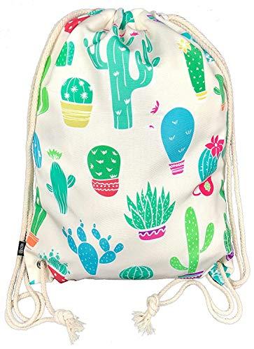 Bolsa de gimnasia para mujeres y niñas en algodón (blanco) - impresa por ambos lados con motivos de cactus - para uso diario, viajes y deportes - adecuada como bolsa de gimnasia, mochila, bolsa de dep