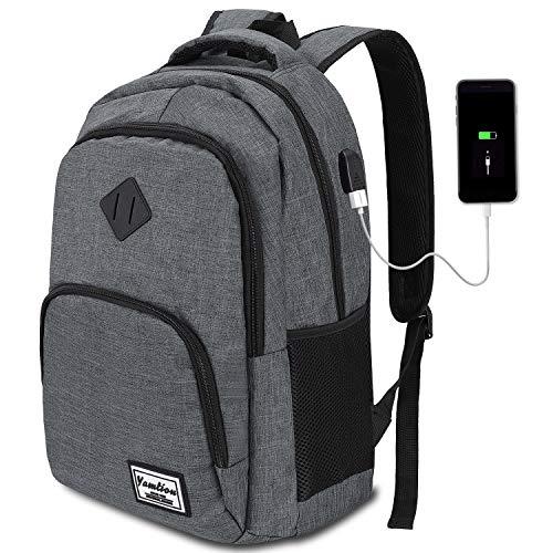 Mochila Hombre para Portátil Mochilas Escolares Juveniles con Puerto USB Resistente al Agua (17.3 Pulgadas, B6-Gris Oscuro)