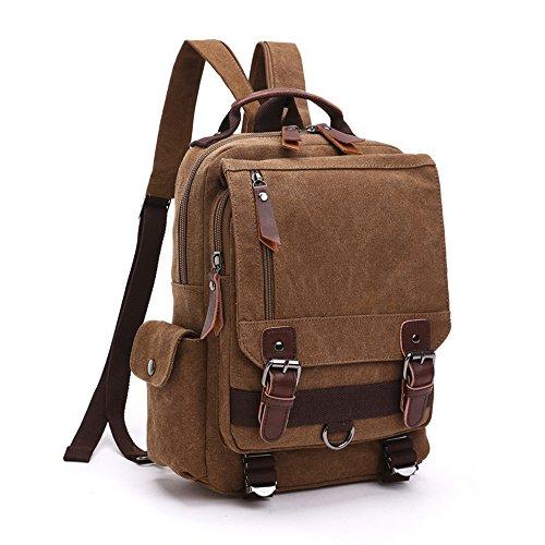 LOSMILE Mochila Hombres Mujer Lona Bolso de Bandolera La Bolsa de Mensajero Bolsa de Lona Bolsa de Hombro Messenger Bag Backpack. (café)
