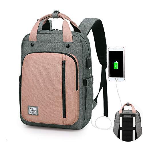 WindTook Mochilas Portatil para Mujer Mochila Ordenador Portatil 15.6 Pulgadas Multifuncional Bolso Mujer Impermeable con Puerto USB de la Vida Diaria Trabajo Viaja Gris y Rosa
