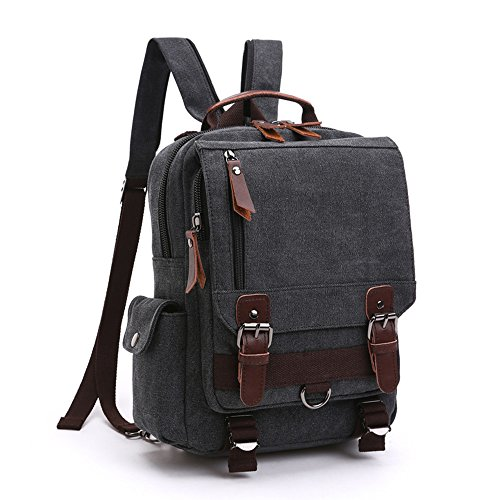 LOSMILE Mochila Hombres Mujer Lona Bolso de Bandolera La Bolsa de Mensajero Bolsa de Lona Bolsa de Hombro Messenger Bag Backpack. (Negro)