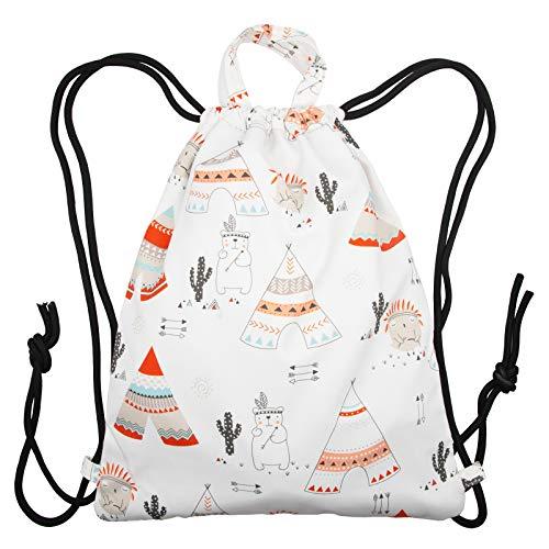 Ruberg Bolsa con cordón niña Impermeable Mochilas de Cuerdas bolsa de deporte al desgaste repelente al agua para mujer con cremallera interior bolsa de mochila mochila hipster con cordón Torre Blanco