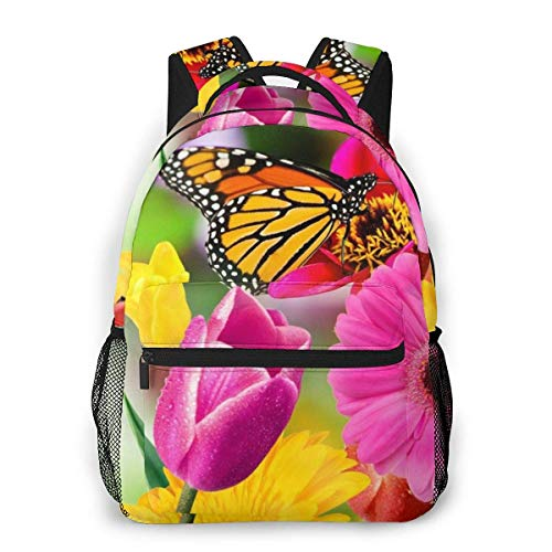 Shichangwei Mochila Escolar Flowers and Butterflies Durable Kids Back To School Backpack Polyester Book Bag For Boys Girls Adults