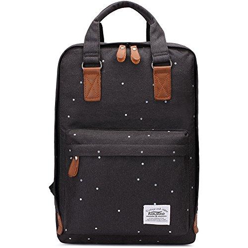 Bolsas escolares KAUKKO Mochila estilo Oxford Bolsa ligera Bolso del ordenador portátil de 14' (Negro)