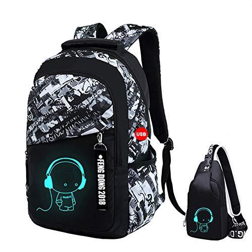 UMYMAYDO1 DJ Luminous Mochila, Unisex Schoolbag Mochila para portátil Bolsa Fresca para Adolescentes con USB Puerto , Bolsa de Viaje, Bolsa de Trabajo, Bolsa de Escuela (Color 1)