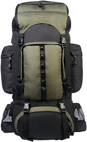 Amazon Basics - Mochila de senderismo con estructura interna y capa para lluvia, 55 L, Verde