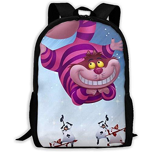 Unisexo Mochila,Alicia En El País De Las Maravillas Cheshire Cat Mochila para Adultos Mochila Escolar para Escuela De Viaje Al Aire Libre Mochila Resistente Y Portátil