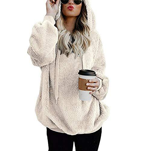 Mujer Caliente y Esponjoso Tops Chaqueta Suéter Abrigo Jersey Mujer Otoño-Invierno Talla Grande Hoodie Sudadera con Capucha riou (White, L)