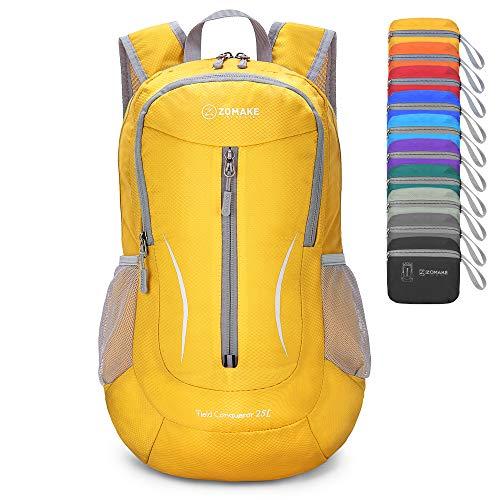 ZOMAKE Mochila Plegable Ligera 25L, Mochilas Pequeñas Compacta para Hombre, Mujer, Viajar, Senderismo, Al Aire Libre(Amarillo)