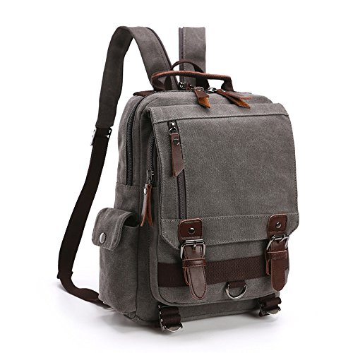 LOSMILE Mochila Hombres Mujer Lona Bolso de Bandolera La Bolsa de Mensajero Bolsa de Lona Bolsa de Hombro Messenger Bag Backpack. (Gris)