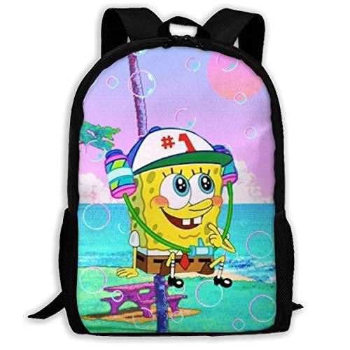 wobuzhidaoshamingzi Mochila Casual Cool Spongebob Print Zipper School Bag Mochila de Viaje Mochila