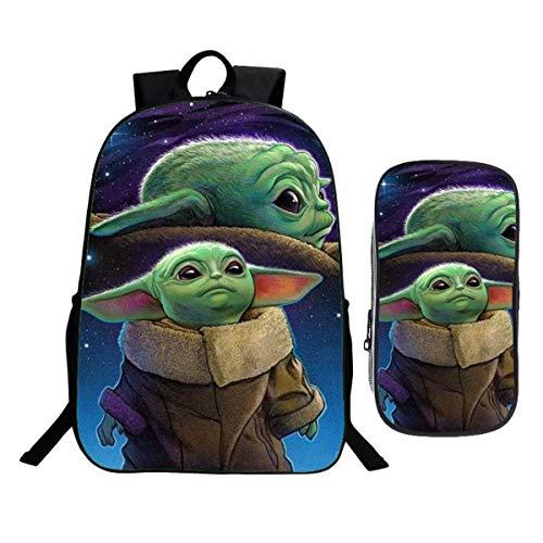 Baby Yoda - Mochila infantil con estuche para lápices, mochila escolar, diseño de dibujos animados, mochila de 2 piezas, Yoda6 (Negro) - DS3-8D-564