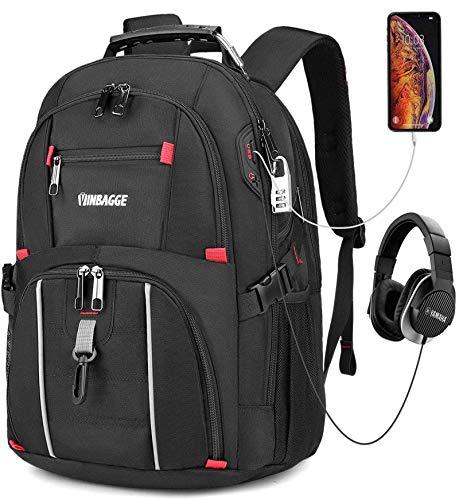Mochila Portatil 15.6 Pulgadas Hombre,Mochilas Escolares Juveniles Mochilas Antirrobo Impermeable Puerto USB Trabajo Ordenador Viaje Negocio Daypacks Negro 40L