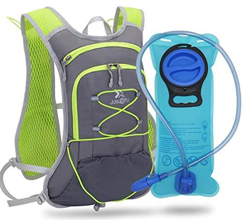 TEUEN Mochila de Hidratación con 2 litros Bolsa de Agua, Mochila Agua Mujer Hombre 6 litros Mochilas Trail Running Ligera para Correr Senderismo o Ciclismo Unisex Adulto (Gris)