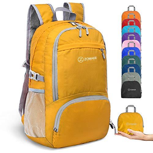 ZOMAKE 30L Ligera Mochila Plegable de Senderismo Excursión Deportes, Mochilas Pequeña Impermeable para Mujer Hombre Viaje(Amarillo)