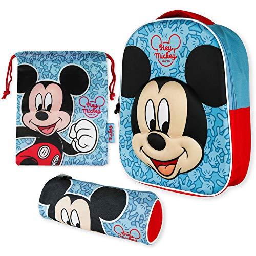 Mochila Infantil 3D, Estuche Escolar y Bolsa Merienda de Cuerdas – Mickey Mouse   Mochilas Escolares para Niños y Niñas de 3 Años   Material Escolar Vuelta al Cole de Mickey Mouse