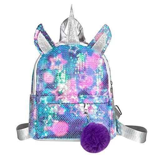 WolinTek Mochila de Unicornio, Mochila Escolar para niña, Mochila de Lentejuelas, Mochila de Viaje,Mochila de Moda Cute Glitter Girl,Mochila de Lentejuelas para Niñas