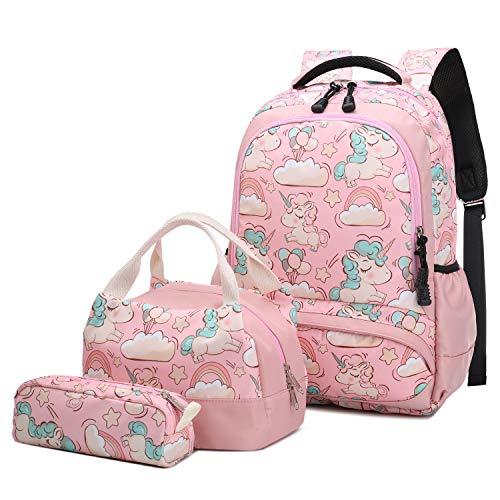 Mochila Escolar Unicornio Niña Infantil Adolescentes Sets de Mochila Backpack Casual Set con Bolsa del Almuerzo y Estuche de Lápices Rosa