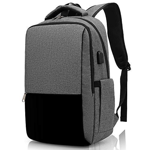 Besttravel Mochila para Portátil, Mochila Impermeable para Ordenador Portátil de hasta 15.6 Pulgadas,Con Anillo de bloqueo antirrobo y Puerto USB,para los Estudios,Trabajo o Viajes - Gris