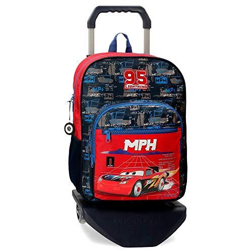 Disney Mochila Escolar Cars Rocket Racing 40 cm con Carro, Multicolor,27 x 38 x 11 cm