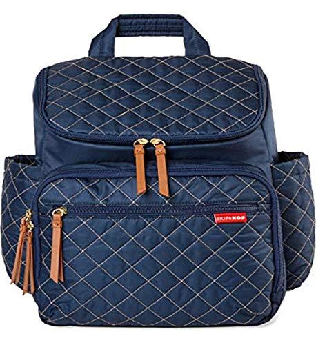 Skip Hop Mochila para pañales: Forma, bolsa de viaje multifunción con cambiador y accesorio para cochecito, color azul marino