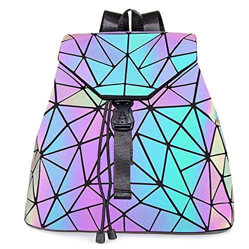 Hot One Cambios De Color Monederos y Bolsos Luminosos Geométricos Monedero Holográfico Monedero Reflectante Mochilas De Moda (5# Mochila Luminosa No.1, L)
