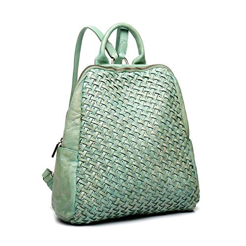 Abbacino mochila mujer de piel trenzada muy suave en verde agua
