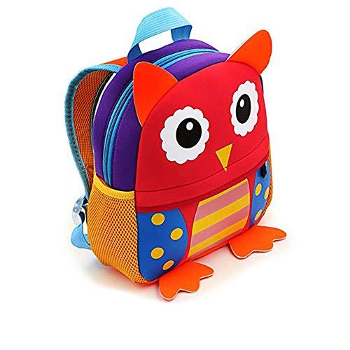 Mochilas Guarderia Pequeños Para Niños y Niñas, AOBETAK Cute 3d Animales Design Bolsos Escolares ,Presente y Regalos Mochila Merienda para Niños Bebe Infantiles 2-7 años - búho rojo
