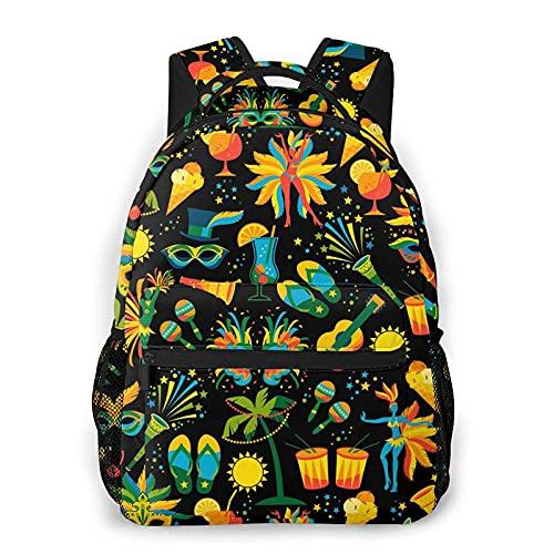 AOOEDM Mochila de viaje portil de Carnaval brasile馻, estilo casual, mochila para portil, gran capacidad y bolsa escolar duradera, bolsa de deportes al aire libre tiene mutiples bolsillos para adulto