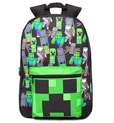 Minecraft Mochila Para Niños Niños Negro Gamer Bag Mochila Escolar Un tamaño