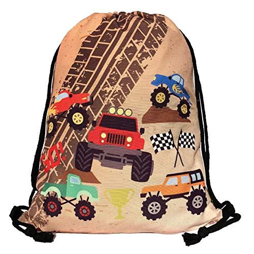 Mochila HECKBO® para niños - Estampada (por Ambos Lados) con Dibujos de Monster Trucks - Lavable a máquina - 40 x 32cm - para el jardín de Infancia, la guardería, para Viajar, o para Hacer Deporte
