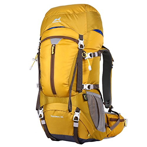 Eshow 50L Mochilas de Acampada Multifuncional Mochilas de Senderismo de Nailon Impermeable Mochilas de Montaña para Viajes de Unisex Color Amarillo