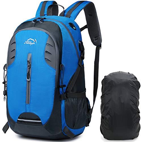 A AM SeaBlue 40L Mochila de senderismo ligera Mochila de viaje con cubierta impermeable para lluvia, Mochila deportes al aire libre, montañismo, bolsas de trekking con puerto USB, azul