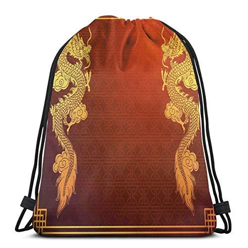 Odelia Palmer Mochilas Estampadas con cordón, Motivo histórico asiático Oriental de Herencia China con diseño de Criatura legendaria, Cierre de Cuerda Ajustable