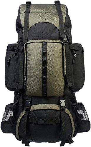 Amazon Basics - Mochila de senderismo con estructura interna y capa para lluvia, 75 L, Verde