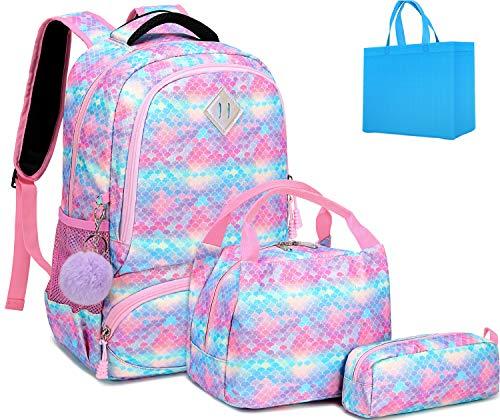Mochila Escolar Mochila Sirena Mochila Colegio Niña Mochila Chica Mochila Escolares Juveniles con Bolsa para Almuerzo y Estuche de Lápices