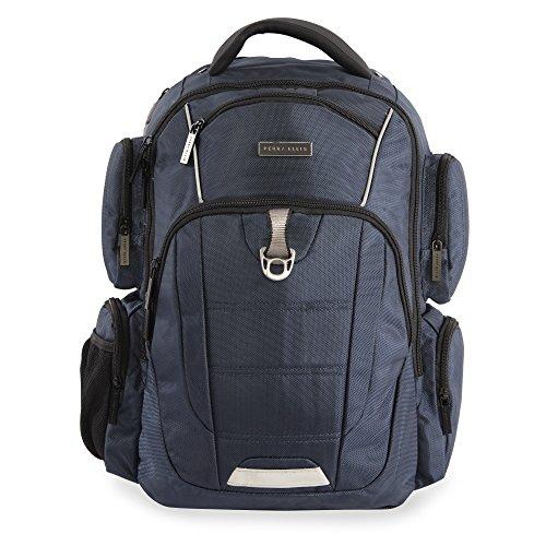 Perry Ellis Mochila profesional de 9 bolsillos para ordenador portátil P350, color azul marino, talla única
