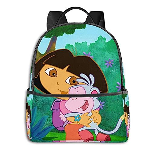 Dora The Explorer Mochila para adolescentes y niños, mochila para aligerar la escuela, bolsa de deporte multiusos, bolsa de hombro a granel para nadar, viajar