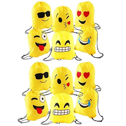 JZK 12pcs Encantador Emoji cordón Dibujos Animados Mochila Bolsas PE para cumpleaños niños y Adultos la Fiesta favorece la Bolsa, Rellenos Bolsas Fiesta