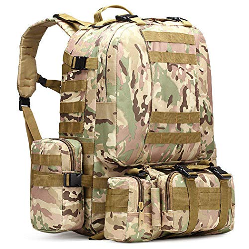 50L Mochila táctica 4 en 1 Bolsas Militares Ejército Mochila Bolsa de Deporte al Aire Libre Camping Senderismo Viajes Bolsa de Escalada 8 50-70L