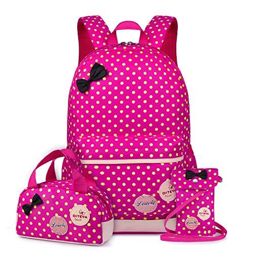Vbiger- Mochila infantil para niña, con bolsa para almuerzo y bolsito para el móvil, Fucsia