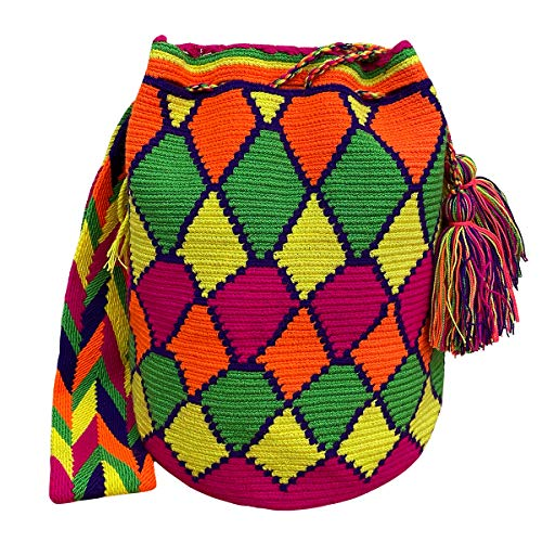 Ancdream Bolsos Colombianos, Mochila Wayuu, 100% Algodón Colombiano Bolso Bucket Hecho A Mano